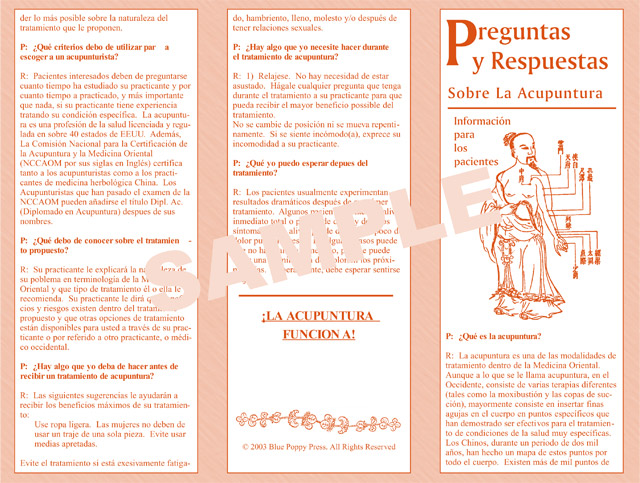 Q amp a about acupuncture spanish brochure blue poppy enterprises